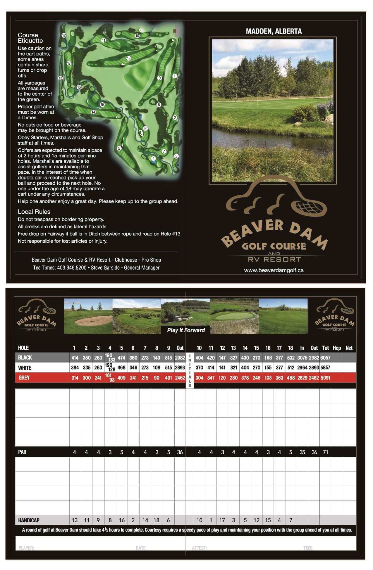 Beaver Dam Golf Course Score Card